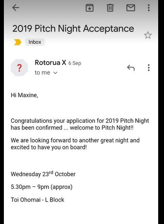 Your application for 2019 Pitch Night has been confirmed ... Welcome to Pitch Night!!